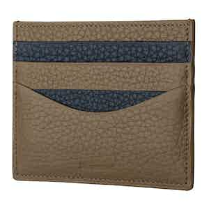 Linen And Navy Cardholder In Bull-Calf Leather
