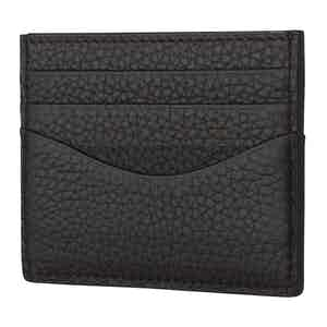 Ebony And Black Cardholder In Bull-Calf Leather