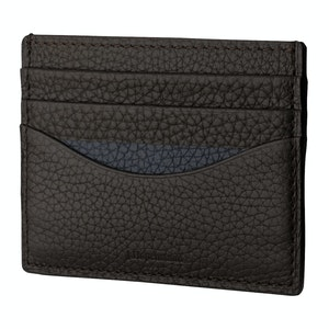 Ebony And Navy Cardholder In Bull-Calf Leather
