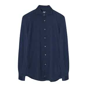 Blue Cotton Pique Shirt