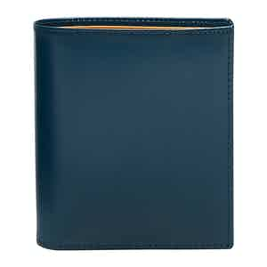 Petrol Blue and Tan Bridle Hide Mini Wallet with 6 C/C