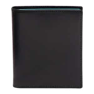 Black and Turqouise Leather Sterling Mini Wallet with 6 C/C