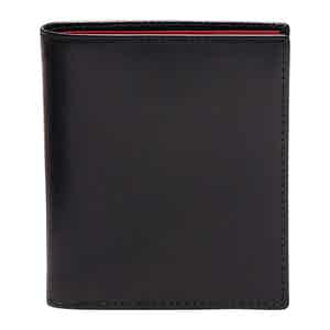 Black and Red Leather Sterling Mini Wallet with 6 C/C