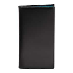 Turquoise and Black Leather Sterling Coat Wallet with 8 C/C