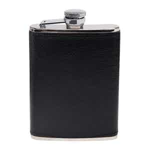 Black Capra 6oz Leather Bound Hip Flask
