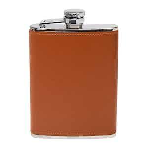 Tan Capra 6oz Leather Bound Hip Flask
