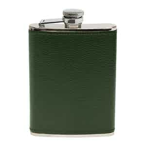 Forest Green Capra 6oz Leather Bound Hip Flask