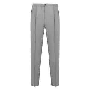 Light Grey Flannel Drawstring Trousers