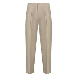 Taupe Linen Drawstring Trousers
