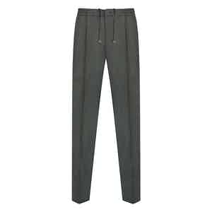 Green Flannel Drawstring Trousers