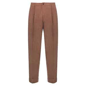 Rust Silk & Wool Blend Drawstring Trousers