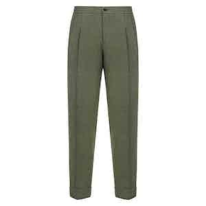 Green Silk & Wool Blend Drawstring Trousers