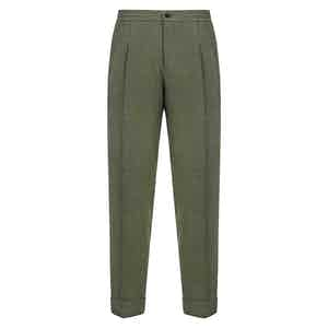 Green Silk & Wool Blend Drawstring Trousers