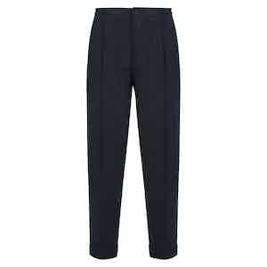 Dark Blue Silk & Wool Blend Drawstring Trousers