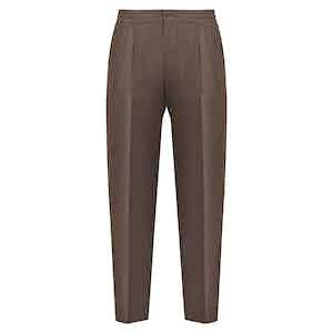 Brown Wool Drawstring Trousers