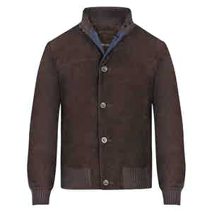 Brown Leather Contrast Bomber Jacket