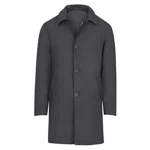 Midnight Blue Silk and Cashmere Overcoat