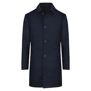 Dark Blue Wool Blend Raincoat