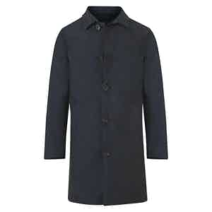 Dark Blue Cashmere and Wool Reversible Raincoat