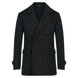 Midnight Blue Double-Breasted Cashmere Peacoat