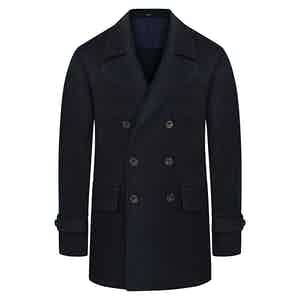 Midnight Blue Double-Breasted Wool Blend Peacoat