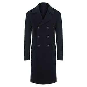 Midnight Blue Double-Breasted Cashmere Overcoat