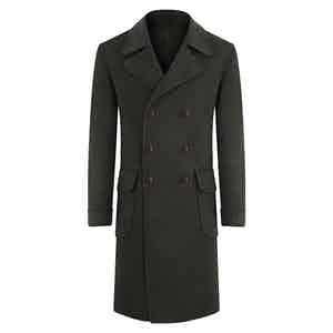 Dark Green Double-Breasted Cashmere Overcoat