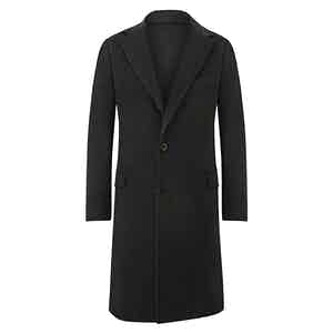 Dark Green Single-Breasted Cashmere Overcoat