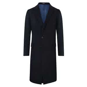 Dark Blue Single-Breasted Cashmere Overcoat