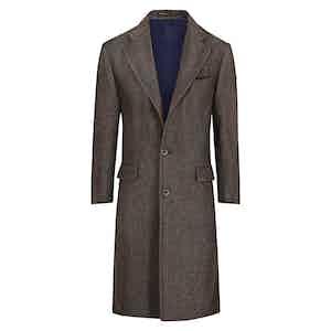 Hazelnut Brown Herringbone Wool and Silk Overcoat