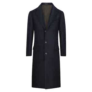 Dark Blue POW Check Wool and Silk Overcoat