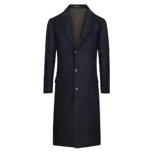 Dark Blue POW Check Wool and Silk Overcoat