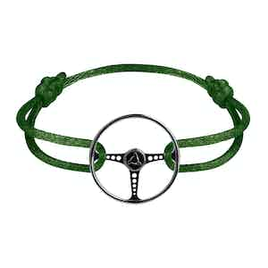 Le Volant Noir Sterling Silver on Racing Green cord
