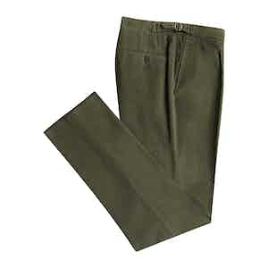 Green Cashmere And Cotton Trousers