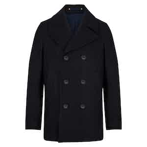 Navy Melton Wool Wide Lapel Peacoat