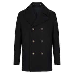Black Melton Wool Wide Lapel Peacoat