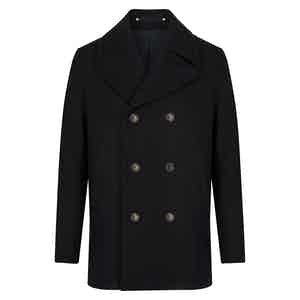 Black Melton Wool Wide Lapel Peacoat