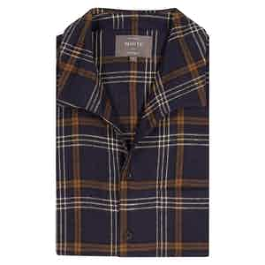 Navy Check Patchwork Shirt