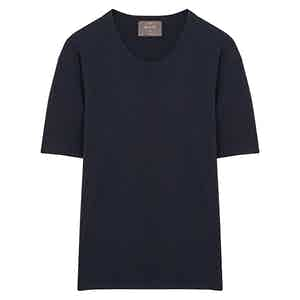Navy Short Sleeve Cotton Interlock Jersey T-Shirt