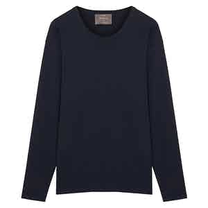 Navy Long Sleeve Cotton Interlock Jersey T-Shirt