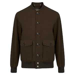 Brown Moleskin Bomber Jacket