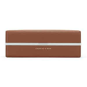 Tan Leather And Aluminum Clasp Wash Bag