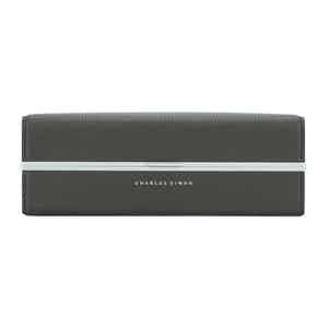 Graphite Leather And Aluminum Clasp Wash Bag