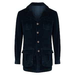 Dark Blue Cotton Velluto Comfort Sahariana