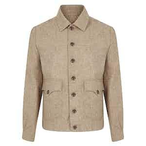 Beige Sport Flannel Bomber Jacket