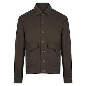 Brown Sport Flannel Bomber Jacket
