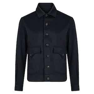 Dark Blue Cashmere Bomber Jacket