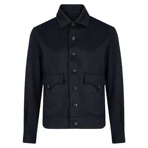 Dark Blue Cashmere Bomber Jacket