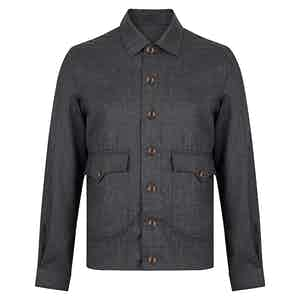 Dark Grey Sport Flannel Wool Bomber Jacket