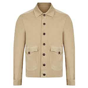 Beige Cotton Velluto Comfort Bomber Jacket